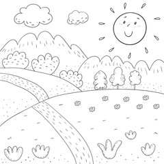 coloring book sunny meadow, mountains, trees design for kids