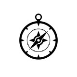Compass icon. Black icon isolated on white background. Compass silhouette. Simple icon. Web site page and mobile app design vector element.