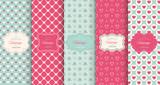 Fototapety Pink heart seamless pattern background