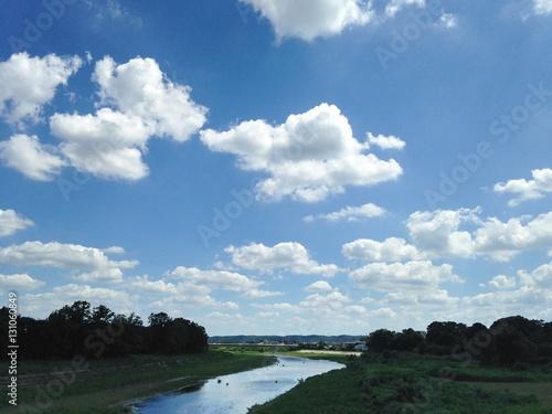 Poster 夏の空と川