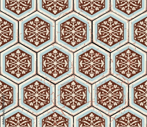 Vector Oriental seamless pattern. Realistic Vintage Moroccan, Portuguese hexagonal tiles. Effect of decorative aging can be removed - 131075088