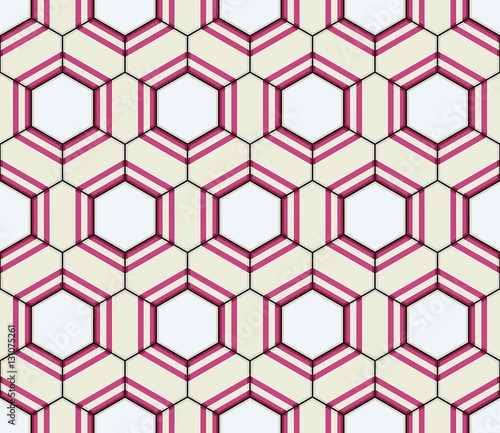 Vector Oriental seamless pattern. Realistic Vintage Moroccan, Portuguese hexagonal tiles. Effect of decorative aging can be removed