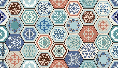 Vector Oriental seamless pattern. Realistic Vintage Moroccan, Portuguese hexagonal tiles. Patchwork background. Grunge effect can be removed - 131075281