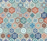 Vector Oriental seamless pattern. Realistic Vintage Moroccan, Portuguese hexagonal tiles. Patchwork background. Grunge effect can be removed