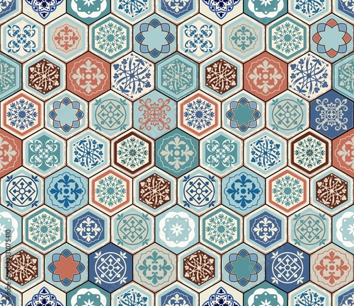 Vector Oriental seamless pattern. Realistic Vintage Moroccan, Portuguese hexagonal tiles. Patchwork background. Grunge effect can be removed - 131075410