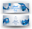 Elegant grand opening invitation cards with blue textured curled gold ribbon