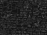 Fototapety Mathematical vector seamless pattern with handwritten formulas, calculations, equations, chalk on grey board text effect