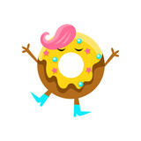 Humanized Doughnut With Yellow Glazing And Pink Hair Cartoon Character With Arms And Legs