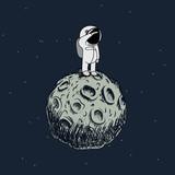 Cartoon astronaut standing on the moon - 131094819