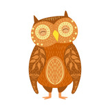 Owl Relaxed Cartoon Wild Animal With Closed Eyes Decorated With Boho Hipster Style Floral Motives And Patterns