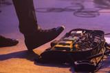 Distortion effect pedals under foot