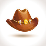 Brown cartoon cowboy hat icon