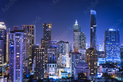 Deurstickers Dubai abstract night cityscape blue light filter - can use to display or montage on product