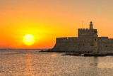 The sunrise at the old port of Rhodes, Greece - 131115217