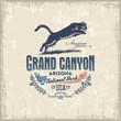 Постер, плакат: Горный Лев Пума Национальный парк Гранд Каньон иллюстрация вектор винтаж