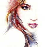Abstract woman face. Fashion illustration. Watercolor painting - 131132876