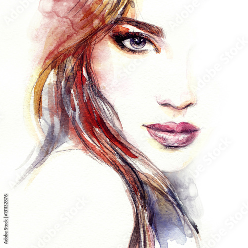 Fotobehang Anna I. Abstract woman face. Fashion illustration. Watercolor painting