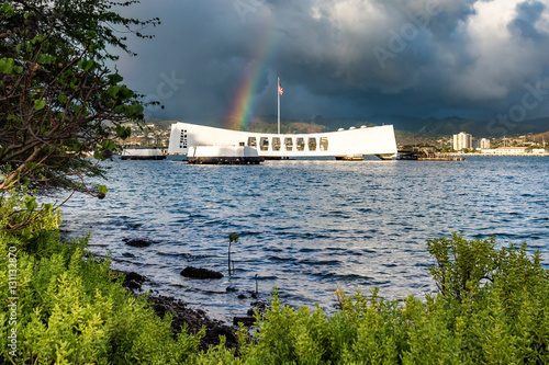 Poster Rainbow over the USS Arizona at Pearl Harbor