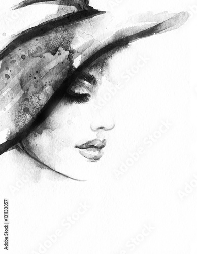 Abstract woman face. Fashion illustration. Watercolor painting - 131133857