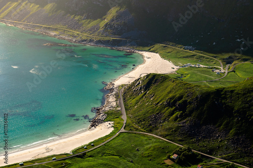 Poster Fjord landscape with beach in Lofoten, Norway