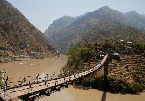 Poster Beautiful island and Bridge On the way to Manali, district Kullu in Himachal Pradesh, India
