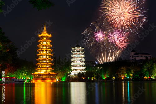Fotobehang Guilin Fireworks over Two towers of Guilin China