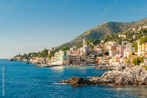 In de dag Liguria Panoramic view of Bogliasco, small sea village near Genoa (northern Italy)