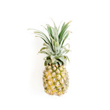 Pineapple on white background. Flat lay, top view