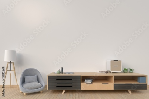 Cabinet with sofa and lamp on background dark color,3D rendering © max3d007