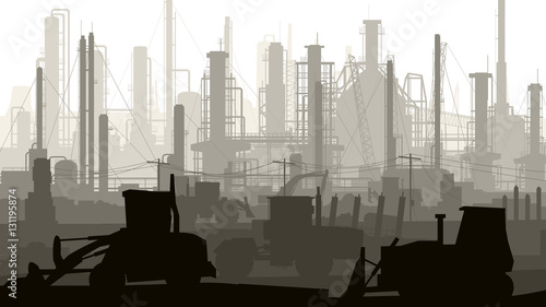 Horizontal illustration industrial part of city.