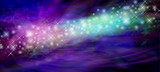 Stream of Glittering Sparkles Website Banner -  stream of white sparkles and glitter flowing from left side on a pink purple green and black background with copy space - 131198022