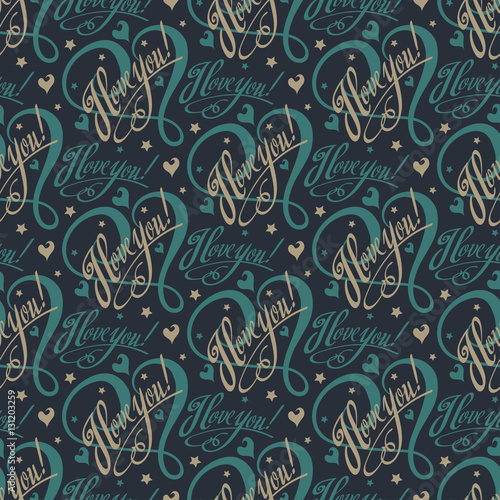 I love you text on a black background. Gift Wrapping Paper. Abstract background with letters and hearts. Vector illustration