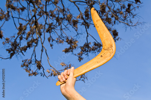 Poster Boomerang in front of a night sky