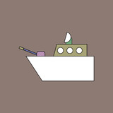 flat vector icon design collection military warship