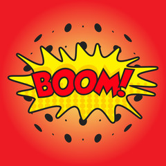 Boom comic sound effects. Sound bubble speech with word and comic cartoon expression sounds vector illustration.