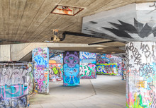 HDR image of graffiti at skate park, South Bank, London.