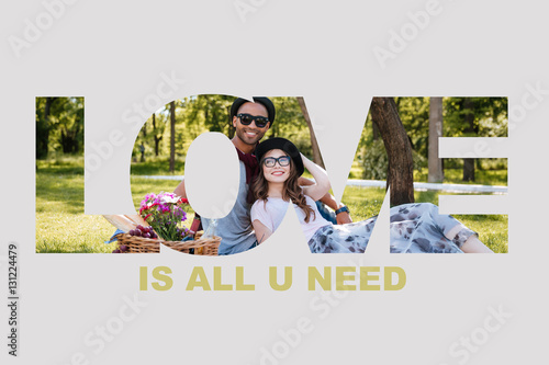 Relaxed couple in love having picnic at the park Poster