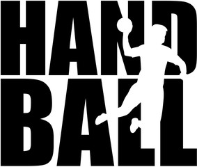 Handball word with player cutout