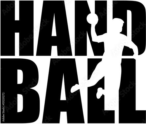Handball word with player cutout