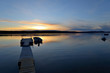 Lake Sunset - Golden sunset at a northern high-latitude lake. Yellowknife, NWT, Canada.