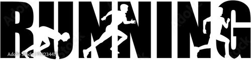 Running word with sprinting silhouette