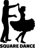 Square dance silhouette with word - 131235657