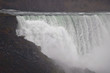 Detailed view of the Niagara Falls edge, with autumn foliage and dark rocks in the bottom, and birds fishing over the river's surface, in a cloudy and foggy day.