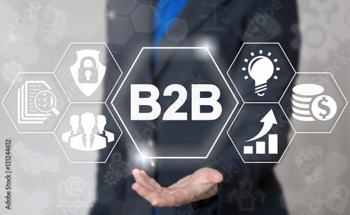 B2B marketing management success web concept. Business to business commerce internet technology