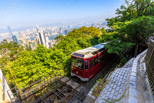 Plagát The popular red Peak Tram to Victoria Peak, the highest peak of Hong Kong island
