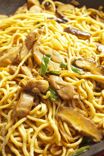 Hong Kong Style Chicken Lo Mein in a wok Canvas Print