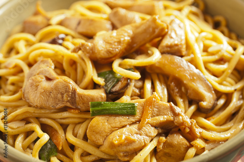 Hong Kong Style Chicken Lo Mein in a wok Poster