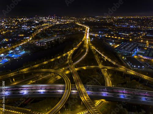 Keuken foto achterwand Nacht snelweg Night aerial shot of Spaghetti Junction in Birmingham,UK.