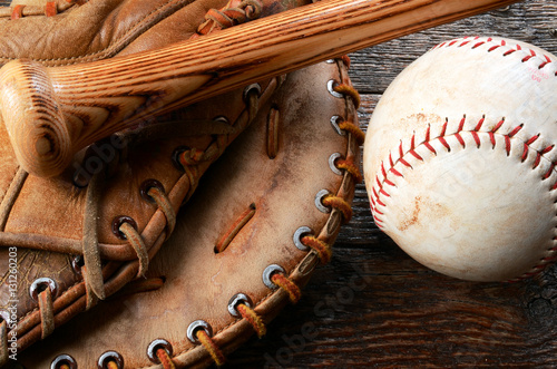 Old Used Baseball, Baseball Glove, and Baseball Bat. Poster