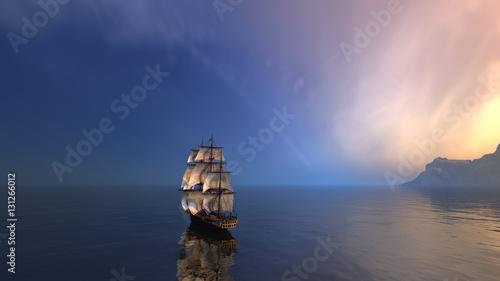 3d rendering żeglowanie statek w szerokim oceanie z małymi fala